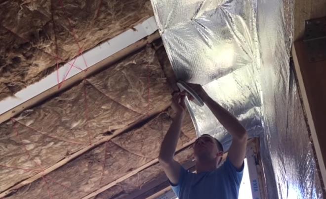 Утепление потолка базальтовой ватой со стороны помещения